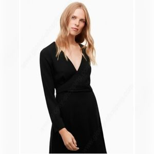 WILFRED Aubagne Black Midi Dress Adjustable Wrap